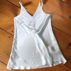 Oscar De La Renta Pink Label White Satin Nightgown